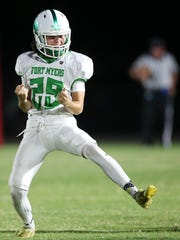 Fort Myers High School's Chris Heidt celebrates making a 42-yard field goal against North Fort Myers on Frida at North Fort Myers High School. North beat Fort Myers 34-17.Chris Heidt's