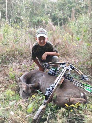 Hagen Barnes, 8, of Pearl, harvested this doe in Scott