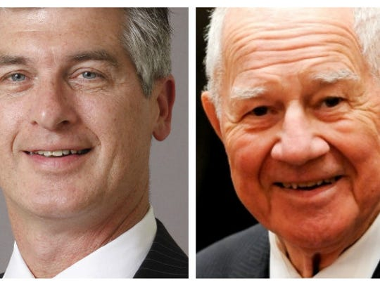 Incumbent William Larkin Jr., 88, right, is vying to