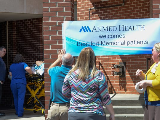 AnMed Hospital nurses help transport patients during