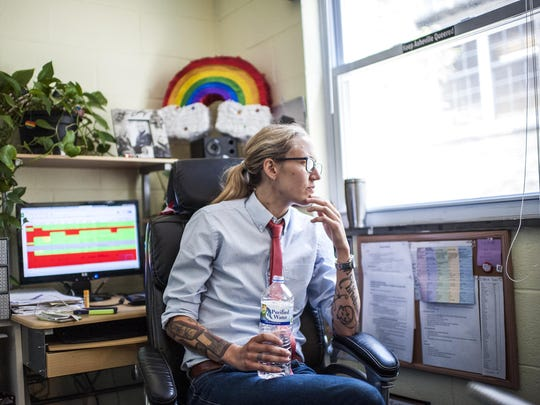 Lindsey Simerly sits in her office in the basement of Asheville's First Congregational United Church of Christ on Monday. Simerly is the campaign manager of the Campaign for Southern Equality. The nonprofit group played a pivotal role in the legalization of same-sex marriage nationwide.