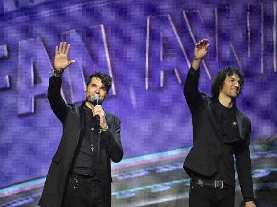 For King & Country accept the Artist of the Year award at the K-LOVE Fan Awards at the Grand Ole Opry House  on May 31, 2015.