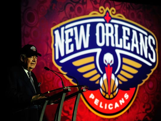 Tom Benson, owner of the New Orleans Pelicans, speaks at a press conference to announce the name change from the New Orleans Hornets to the New Orleans Pelicans at the New Orleans Arena on Jan. 24, 2013, in New Orleans.