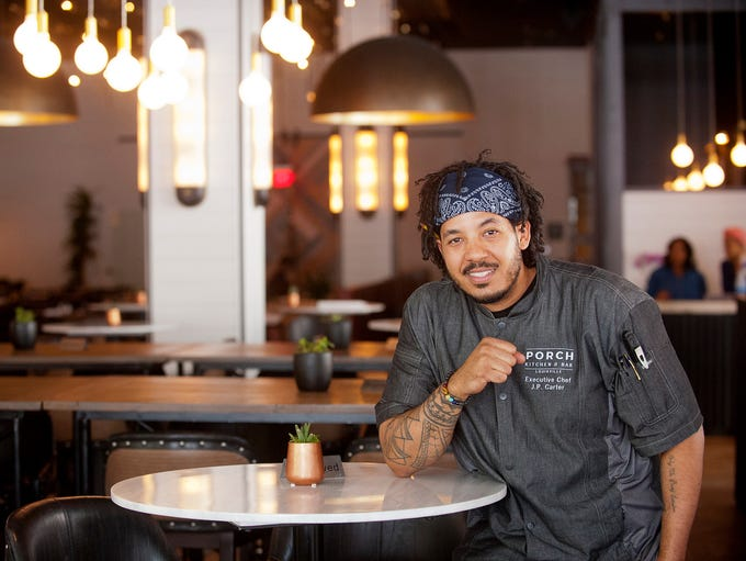 Executive Chef Joshua P. Carter relaxes in the dining