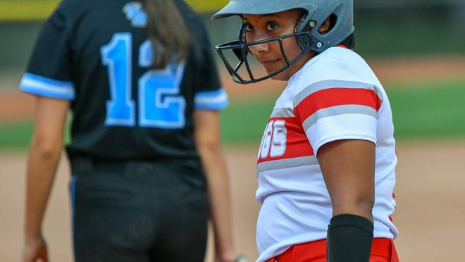 Pueblo Centennial's Kieya Belmont reacts after reaching first base in the first inning against Vista Ridge on Aug. 13 on Salas Field at the Runyon Sports Complex.