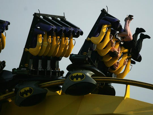 Park attendees on Batman the Ride at Six Flags Great Adventure in Jackson in 2007.