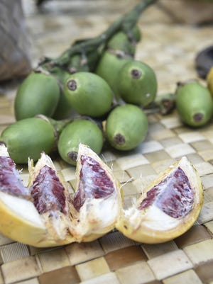 """Betel nut varieties are shown in this file photo. The yellow, hardened variety shown is called """"mahetok"""" or just """"pugua."""" the green, uripe variety shown is known as Yapese betel nut or """"Gadda."""""""