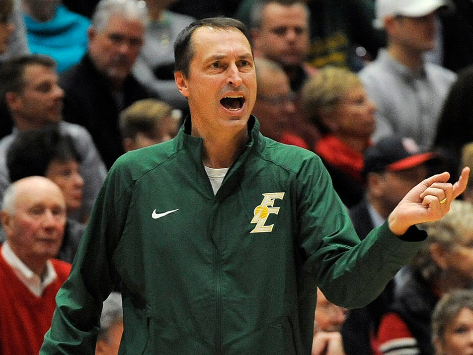 Floyd Central head coach Todd Sturgeon yells instruction to his Highlanders as they take on New Albany on Friday at New Albany High School. (Photo by David Lee Hartlage, Special to The Courier-Journal) Dec. 9, 2016