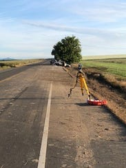 The scene of a crash on HIghway 99W early Sunday morning.