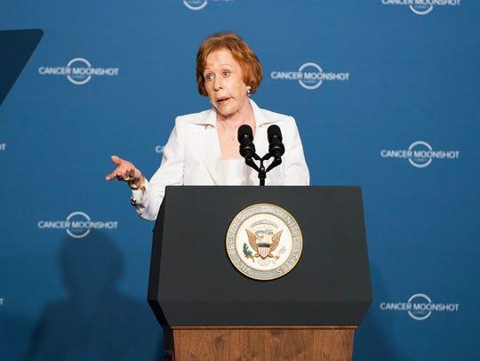 Carol Burnett speaks during the Cancer Moonshot Summit