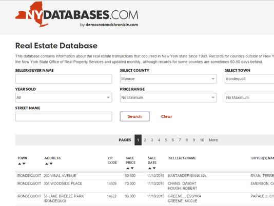 real estate database screen capture