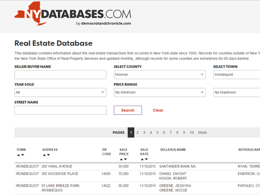 real estate database screen capture