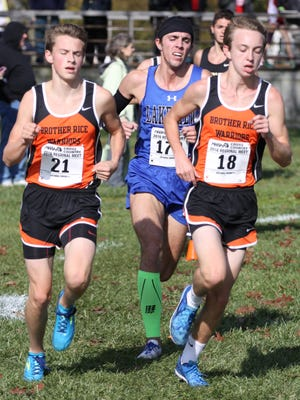 Alec Miracle (left) and Grant Davey, shown at last year's state meet, helped lead Brother Rice back to the Division 1 state finals at the MIS Speedway in Brooklyn.