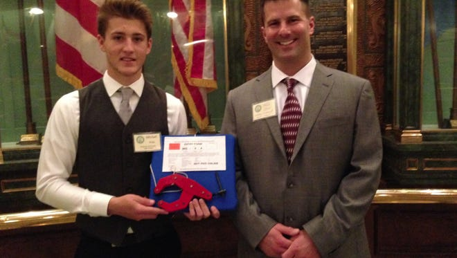 """Mitchell Bragg, a Pinckney High School student, presented his career and technical education program project on the floor of the State Capital in Lansing on Wednesday morning. """"Mitchell did an outstanding job representing our Manufacturing and Welding Program,"""" said Mark Stein, CTE program director and teacher. """"We are very proud of him."""""""