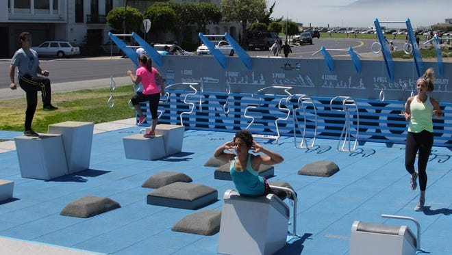 Las Cruces will build an outdoor gym like the one shown here at the Hadley Avenue recreation complex. The City Council informally agreed on Tuesday to build a second one at the East Mesa Recreation Center.