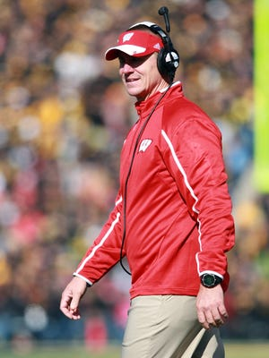 Wisconsin coach Gary Andersen looks on during their game with the Iowa Hawkeyes at Kinnick Stadium.