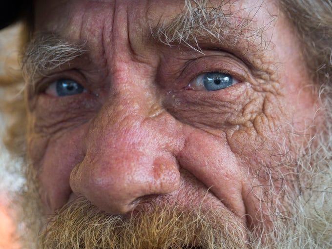 Bob Hicks, 68, spends his morning, Saturday October