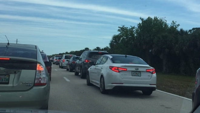 Traffic is picking up on Interstate 95 prior to the SpaceX launch scheduled for 4:30 p.m.