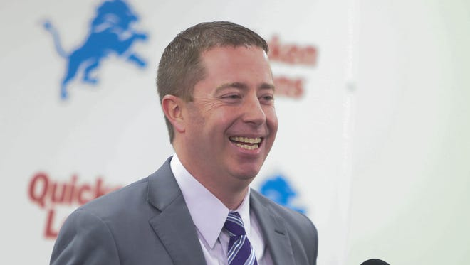 Lions general manager Bob Quinn talks about the team's first round draft pick Florida linebacker Jarrad Davis at the Allen Park practice facility Thursday, April 27, 2017.
