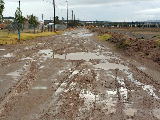 After rainstorms and extreme weather events, Cebolla Lane in Vado can become impassable for vehicles without four-wheel drive.