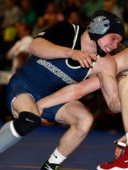Roxbury senior Dominick LaRusso wrestles Phillipsburg's