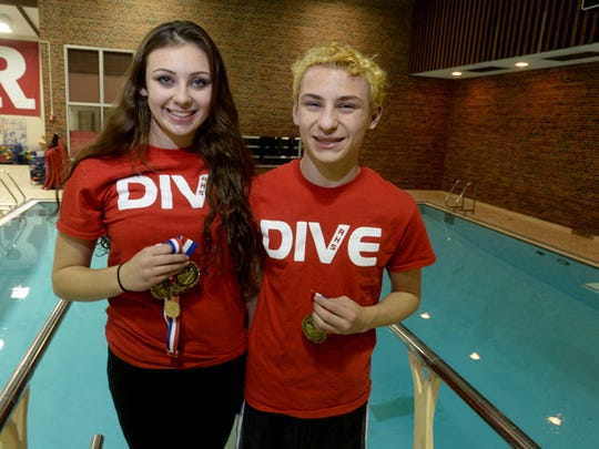 RIchmond High School divers and siblings Mariam Khamis,