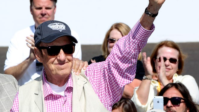 Jim Nabors attends the drivers meeting for the 2014 Indianapolis 500 on Saturday.