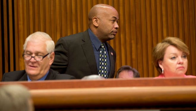 Assemblyman Carl Heastie, D-Bronx, arrives to a joint legislative budget hearing on the environment on Wednesday in Albany.
