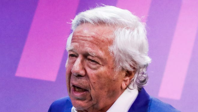 New England Patriots owner Robert Kraft arrives at Super Bowl LII Opening Night at the Xcel Energy Center in St. Paul, Minnesota,