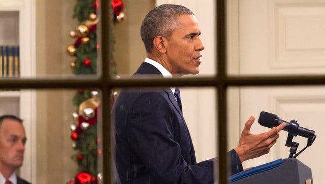 President Barack Obama addresses the nation Dec. 6, 2015 from the Oval Office at the White House in Washington, D.C.