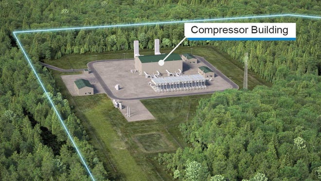 A rendering of the proposed natural gas compressor station in Franklin.
