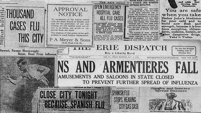 This is a photo collage of 1918 Spanish flu covers and articles from the Erie Daily Times and the Erie Dispatch.