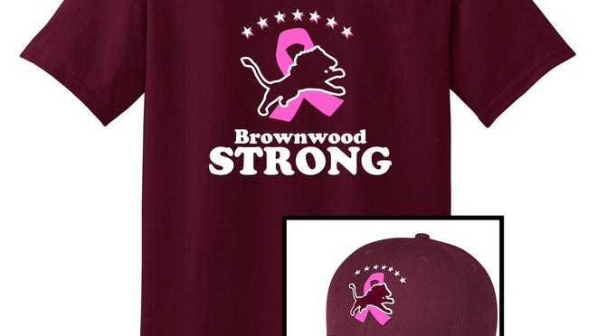 T-shirs and caps are available for sale to raise funds for the fight against breast cancer.