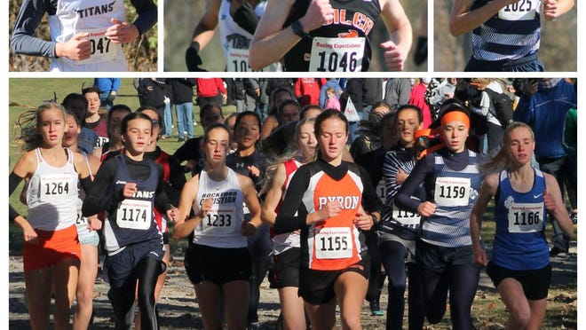 From top left: Annawan-Wethersfield's Coy McKibbon, Kewanee's Colin VanStechelman (1046), and Ridgewood's Nick Janson (1025); below, the starting field for the girls sectional race reaches the first choke point, the causeway over pond at Seneca Agricultural Pond near Marseilles, with eventual winner Natalia Martino of Winnebago (1264), Annawan-Wethersfield's Kennady Anderson (1174), Kendra Downing of Ridgewood (1159) and runnerup Hailey Heiar of East Dubuque (1166, far right).