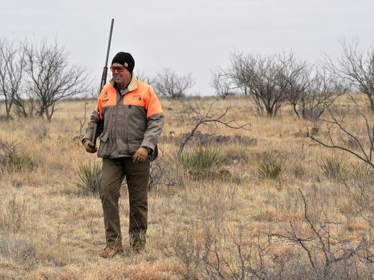 Steve Kanaly, an actor from the Dallas television show, hunts Saturday Feb. 10, 2018 on the Davis & Haynes Ranch during the 29th annual Big Country Celebrity Ultimate Hunt. The quail hunt benefits Disability Resources, Inc.