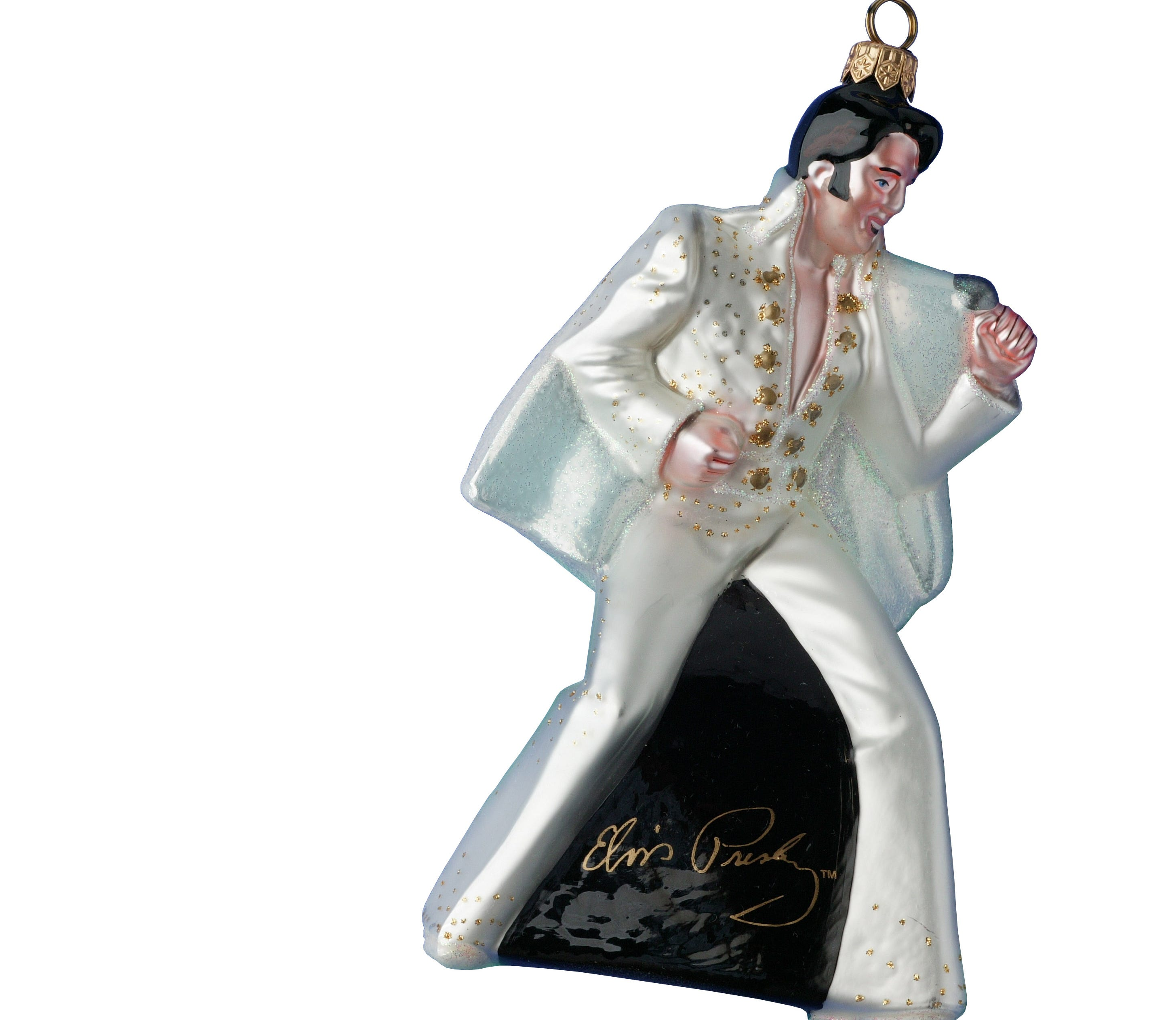 260 | Licensees. All kinds of Elvis merchandise is made, from apparel and apps to Barbie dolls and bobbleheads. This glass Elvis Christmas ornament was made in Poland.