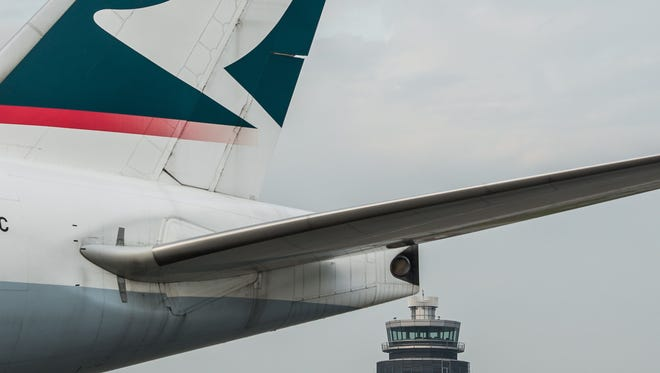 Cathay Pacific planes on the tarmac of the international airport in Hong Kong in 2012.
