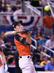 Miles Teller attends the 2017 MLB All-Star Legends and Celebrity Softball game  at Marlins Park on July 9, 2017. Did you know Miles Teller was a standout on the baseball team and had dreams of going pro? Oh man, what can't this guy do? Imagine all of the bank teller puns that would've been if he went to the pros. He'd win multiple Cy Young's for sure. I'm almost 100% certain that this hit atomized the tennis ball upon impact. What a swing.