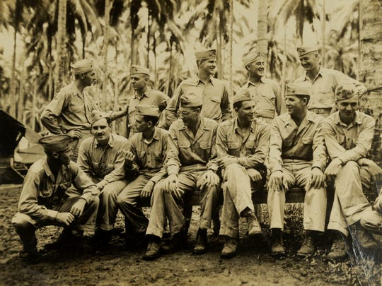 The officers of Bill Rutledge's unit in the 3rd Division, 2nd Battalion, 9th Marines during World War II.