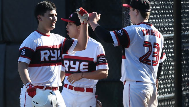 Rye defeated Lakeland 6-0 in boys baseball action at Disbrow Park in Rye April 15,  2017.