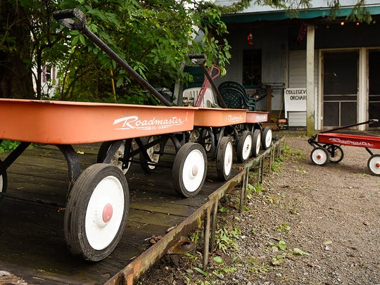 Wagons are cleaned and ready to venture into the pumpkin patch Wednesday, Sept. 7, 2016 at Collegeville Orchards in Collegeville.