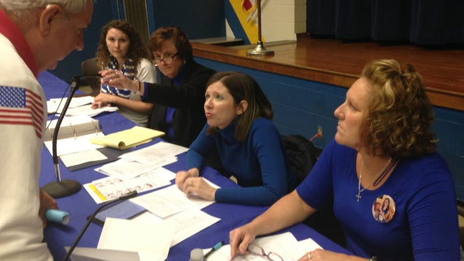 Union School Corp. board members, left to right, Christina Ogden, Christa Ellis and Teresia Green listen to a patron on Tuesday night. Attorney Susan Traynor Chastain, second from left, asked the patron to stop pointing.