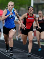 Oshkosh West nears the finish of the 4x100 Meter Relay