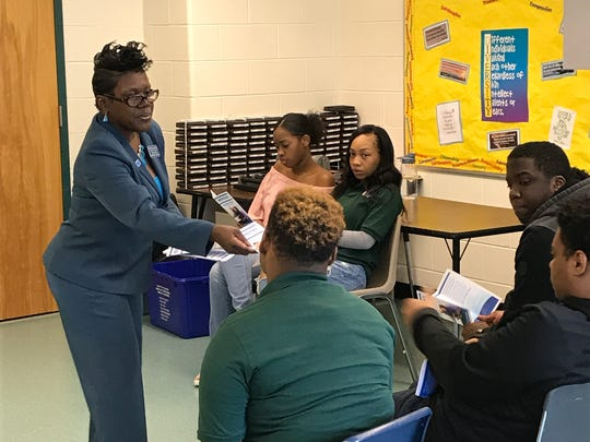 Middlesex County College Admissions Counselor Desiree Brower led NuView Academy Annex students in a productive discussion about college and their goals for the future.