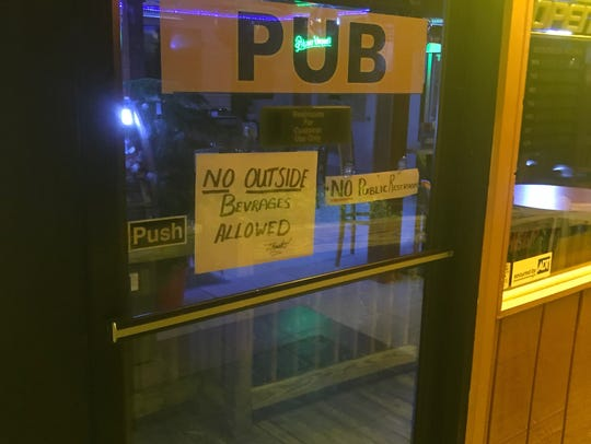A sign barring patrons from bringing alcohol into the