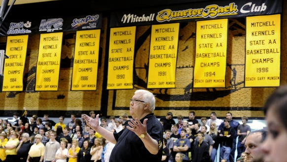 Gary Munsen works the sideline at the Corn Palace in