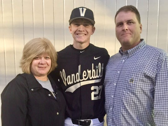 Vanderbilt pitcher Chandler Day with mother Robin and