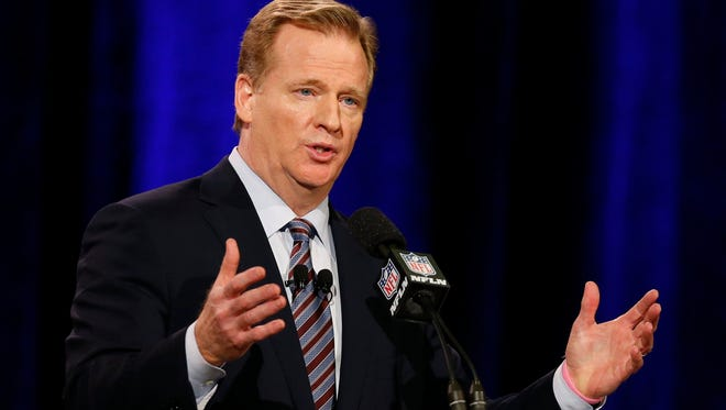 NFL Commissioner Roger Goodell speaks during a press conference for Super Bowl XLIX.