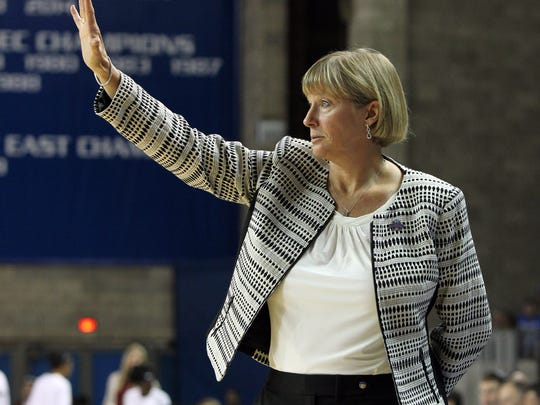 Purdue head coach Sharon Versyp directs her team during