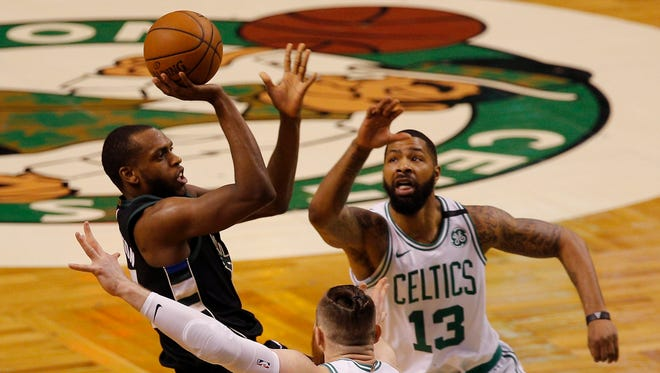 Bucks forward Khris Middleton made 9 of 21 shots from the field Tuesday night, his first game under 50% in the playoff series vs. the Celtics.